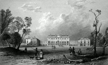 ANTIQUE PRINT: THORNDON HALL, ESSEX, FROM THE NORTH. SEAT OF LORD PETRIE, TO WHOM THIS PLATE IS RESPECTFULLY INSCRIBED.