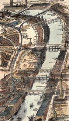 ANTIQUE PRINT: THE THAMES, FROM THE TOWER TO WESTMINSTER.