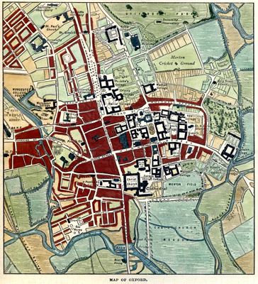 ANTIQUE MAP: MAP OF OXFORD.