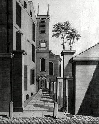 ANTIQUE PRINT: THE WEST PROSPECT OF THE PARISH CHURCH OF ST. OLAVE IN THE OLD JEWRY.
