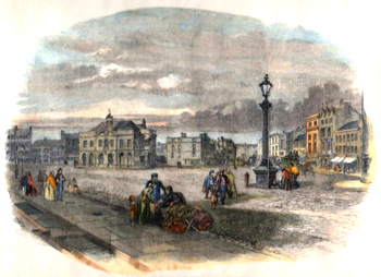 ANTIQUE PRINT: 1. – MARKET-PLACE AND EXCHANGE, LEICESTER.