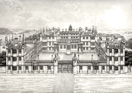 ANTIQUE PRINT: AUDLEY END, (WEST, OR PRINCIPAL FRONT IN ITS ORIGINAL STATE) ESSEX. TO JOHN FOSTER, ESQR. ARCHITECT, THIS PLATE IS RESPECTFULLY INSCRIBED BY J. BRITTON.