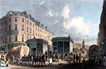 ANTIQUE PRINT: FLEET MARKET, FROM HOLBORN BRIDGE. NOW REMOVED.