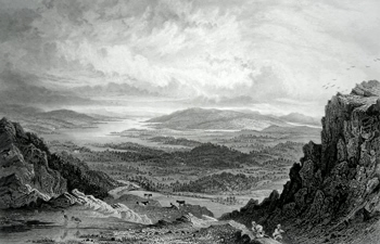 ANTIQUE PRINT: WINDERMERE, ESTHWAITE, & CONISTON LAKES, FROM THE TOP OF LOUGHRIGG FELL.