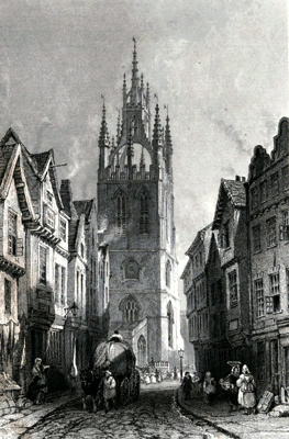 ANTIQUE PRINT: ST. NICHOLAS' CHURCH, FROM MIDDLE STREET, NEWCASTLE, TYNE.