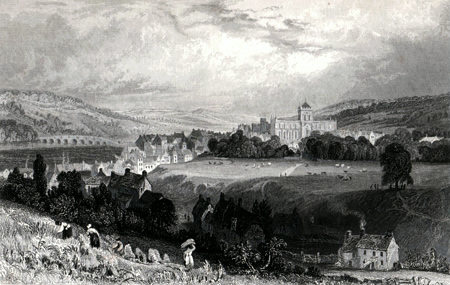 ANTIQUE PRINT: HEXHAM, FROM THE WEST, NORTHUMBERLAND.