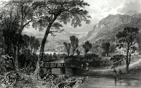 ANTIQUE PRINT: RYDAL WATER, NEAR IVY COTTAGE, WESTMORLAND.