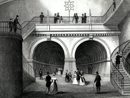 ANTIQUE PRINT: THAMES TUNNEL, (FROM THE CIRCULAR STAIRCASE.) LONDON.