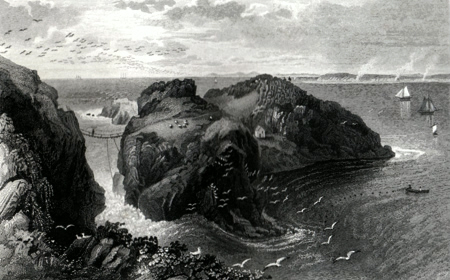ANTIQUE PRINT: CARRICK-A-REDE, IRELAND. CO. OF ANTRIM.