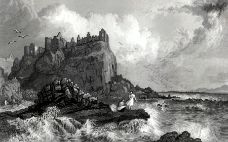 ANTIQUE PRINT: DUNLUCE CASTLE, CO. ANTRIM, IRELAND.