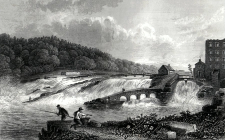 ANTIQUE PRINT: THE COLERAINE SALMON LEAP, CO. LONDONDERRY.