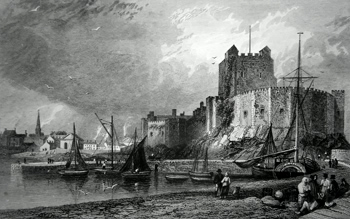 ANTIQUE PRINT: CARRICKFERGUS CASTLE & TOWN, IRELAND.