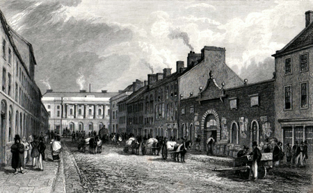 ANTIQUE PRINT: THE GREEN LINEN MARKET & COMMERCIAL BUILDINGS, DONEGAL STREET, BELFAST.