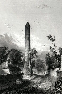 ANTIQUE PRINT: THE ROUND TOWER OF CLONDALKIN, CO. DUBLIN.