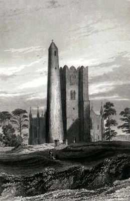 ANTIQUE PRINT: THE ROUND TOWER, BELFRY, & CHURCH, OF SWORDS.