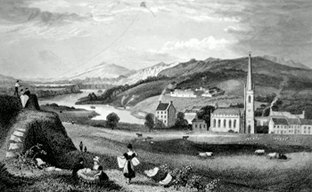 ANTIQUE PRINT: SLIGO, IRELAND. TAKEN FROM THE GREEN FORT, LOOKING TOWARDS LOUGH GILLY.