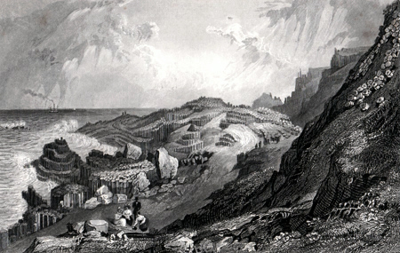 ANTIQUE PRINT: THE GIANTS CAUSEWAY, IRELAND.