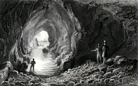 ANTIQUE PRINT: CAVE, GIANTS CAUSEWAY, IRELAND.