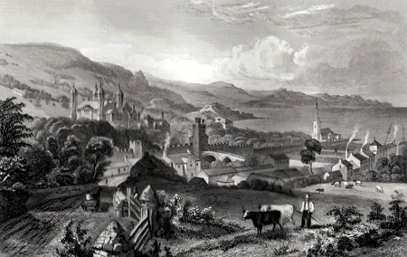 ANTIQUE PRINT: TOWN & CASTLE OF GLENARM, CO. ANTRIM.