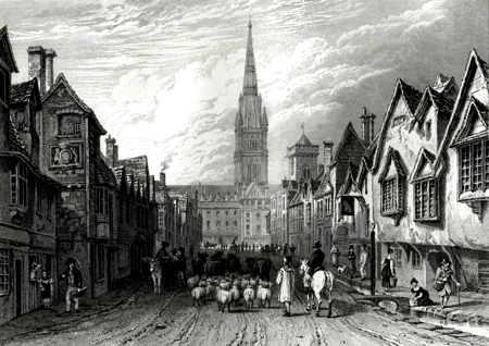 Antique print of Salisbury, Wiltshire