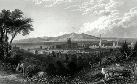ANTIQUE PRINT: VIEW OF THE CITY OF WORCESTER, FROM THE N.E.