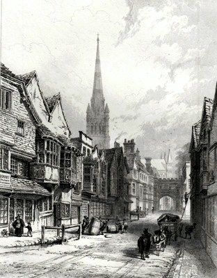 ANTIQUE PRINT: SALISBURY. VIEW IN THE HIGH STREET, LOOKING SOUTH.