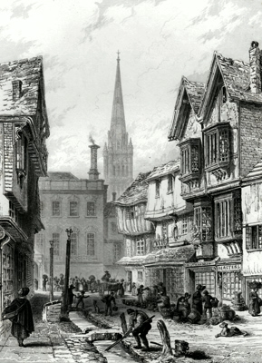 ANTIQUE PRINT: VIEW IN SILVER STREET. – SALISBURY.
