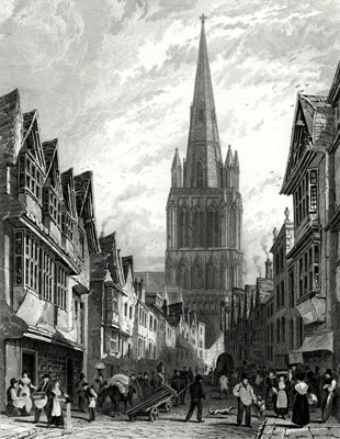 ANTIQUE PRINT: BRISTOL, VIEW IN REDCLIFFE STREET WITH THE SPIRE RESTORED.