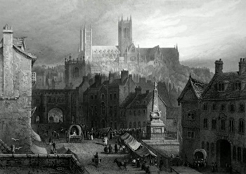 ANTIQUE PRINT: VIEW OF THE CITY OF LINCOLN, FROM THE SOUTH.