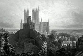 ANTIQUE PRINT: VIEW OF THE CATHEDRAL &C. OF LINCOLN, FROM THE KEEP OF THE CASTLE.