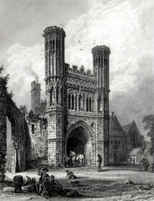 ANTIQUE PRINT: GATE-WAY TO ST. AUGUSTINES MONASTERY, CANTERBURY.