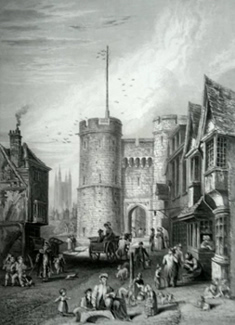 ANTIQUE PRINT: THE WEST GATE, AT CANTERBURY.