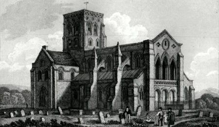 ANTIQUE PRINT: SHOREHAM CHURCH.