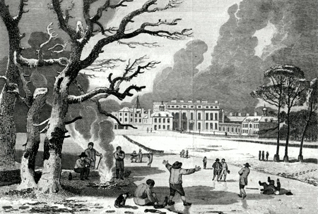 ANTIQUE PRINT: BUCKINGHAM HOUSE, (THE PALACE OF HER MAJESTY QUEEN CHARLOTTE.) ST. JAMES'S PARK.