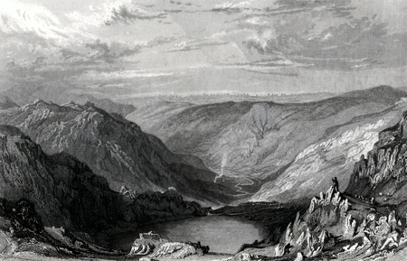 ANTIQUE PRINT: SMALL-WATER TARN; FROM NANBIELD, LOOKING INTO MARDALE.