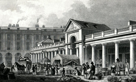 ANTIQUE PRINT: THE N.W. FAÇADE OF THE NEW COVENT GARDEN MARKET.