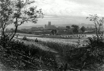 ANTIQUE PRINT: GENERAL VIEW OF CANTERBURY FROM HARBLEDOWN.