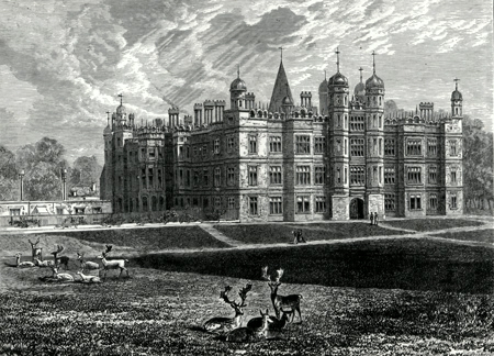 ANTIQUE PRINT: FRONT OF BURGHLEY HOUSE.