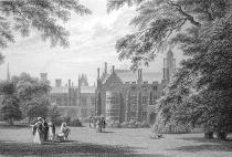 ANTIQUE PRINT: SIDNEY COLLEGE. FROM THE MASTERS GARDEN [SIDNEY SUSSEX COLLEGE, CAMBRIDGE] .