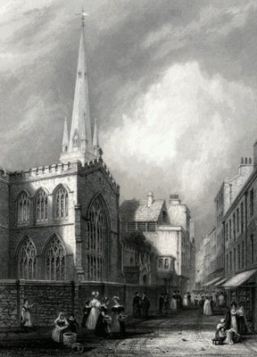 ANTIQUE PRINT: TRINITY CHURCH [CAMBRIDGE].