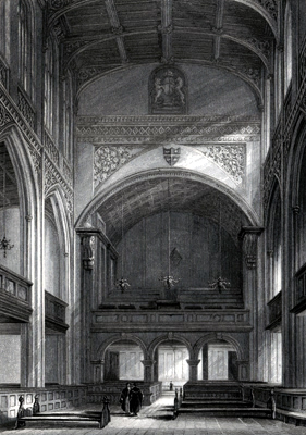 ANTIQUE PRINT: GREAT ST. MARY'S CHURCH – INTERIOR [CAMBRIDGE].
