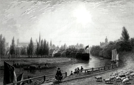 ANTIQUE PRINT: VIEW OF CAMBRIDGE, FROM THE ELY ROAD.