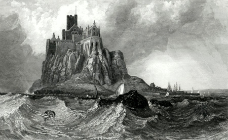 ANTIQUE PRINT: ST. MICHAEL'S MOUNT CORNWALL.