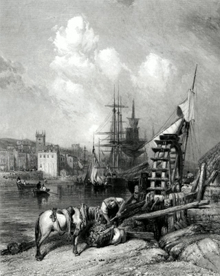 ANTIQUE PRINT: FALMOUTH, FROM THE MILLS.