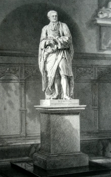 ANTIQUE PRINT: STATUE OF SIR ISAAC NEWTON, IN THE ANTE-CHAPEL, TRINITY COLLEGE [CAMBRIDGE].