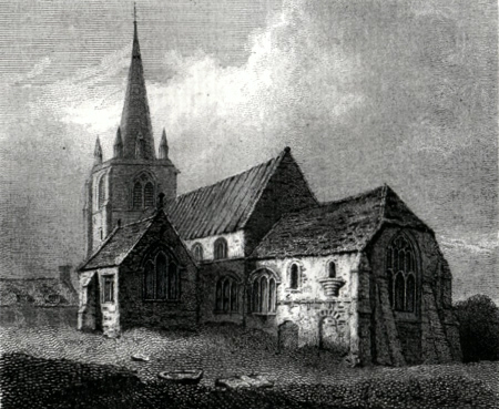 ANTIQUE PRINT: ST. MARY'S CHURCH, ELY.
