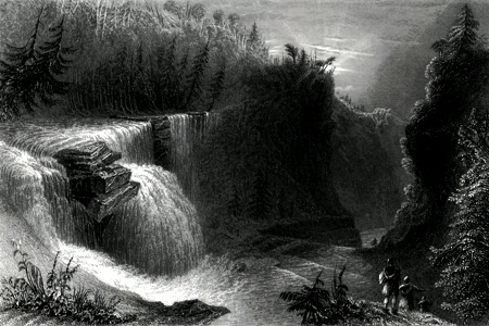 ANTIQUE PRINT: TRENTON FALLS, VIEW DOWN THE RAVINE.