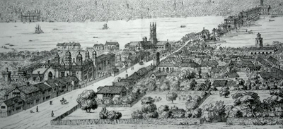 ANTIQUE PRINT: SOUTHWARK AND LONDON BRIDGE AS THEY APPEARED ABOUT 1546. FROM A DRAWING BY ANTY. VAN DEN WYNGRERDE, SUTHERLAND COLLECTION, BODLEIAN LIBRARY, OXFORD.