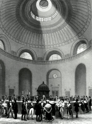 ANTIQUE PRINT: THE ROTUNDA, BANK OF ENGLAND. PAYMENT OF DIVIDENDS.