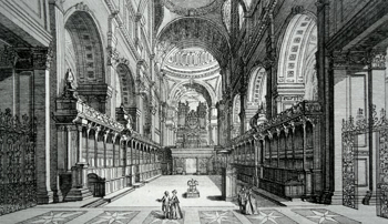 ANTIQUE PRINT: THE CHOIR OF ST. PAULS CATHEDRAL.